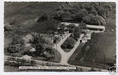 Vintage Real Photo Postcard Rppc Orchard Grove Motel Niagara Falls Canada