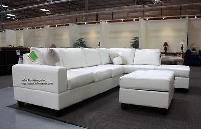 Modern Cream White Bonded Leather Sectional Couch Sofa
