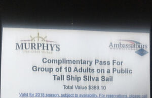 Tall Ship Silva Pass for 10 ppl. ONLY $300  Value $389+