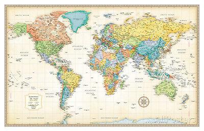 Rand Mcnally Laminated Classic World Map Laminated Poster Print, 50x32