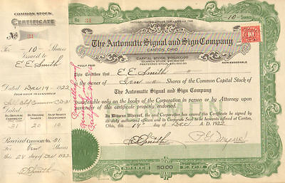 Automatic Signal Sign > 1922 Canton Ohio old stock certificate