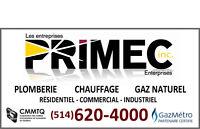 PLOMBERIE/PLOMBIER PRIMEC-MONTRÉAL-CHAUFFAGE-GAZ NATUREL-URGENCE