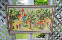 "Needlepoint Framed Picture - Country Village Scene - 30"" x 20"""
