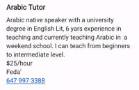 Arabic Teacher/tutor