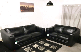 Π Real leather Black 3+2 seater sofas