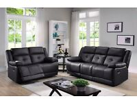 ITALIAN LEATHER RECLINER SOFA 3+2 - FREE DELIVERY