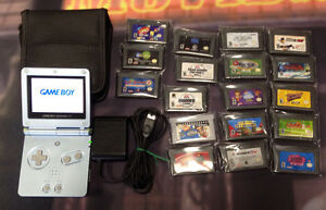 Game Boy Advance SP (Brighter Version) with game bundle.  GBA