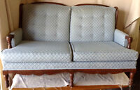 189: Vintage Heavy Wood Blue and Cream Loveseat and Chair