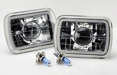 "7x6"" H4 CCFL Halo Clear Projector Glass Headlight Conversion w/ Bulbs Pair Jeep"