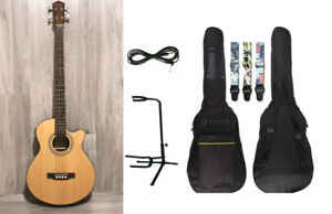Acoustic Bass Guitar 4 string built in tuner brand new
