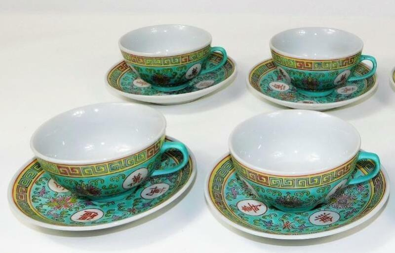 4 MUN SHOU LONGEVITY CHINESE TEAL LOTUS FLOWER PORCELAIN CUPS AND SAUCERS