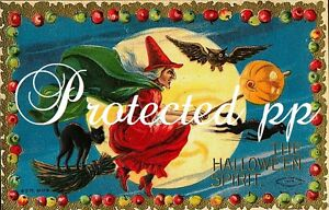 Fabric-Block-Halloween-Vintage-Postcard-Image-Flying-Witch-Broom-Cat
