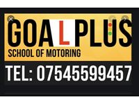 Goal Plus School of Motoring. First 2 hours £30 for beginners
