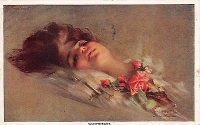 "Signed Philip Boileau, u. 1910 Pretty Lady, ""Sweetheart"""