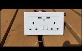 Electrical Socket with 2 USB Sockets