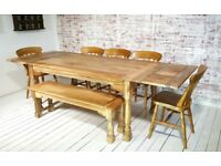 Extendable Rustic Farmhouse Dining Table Natural Hardwood Finish with Matching Benches & Chairs