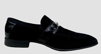 Auth Gucci Men's Vintage Black Suede Patent Horesbit Loafer Shoes EU 41/ US 8