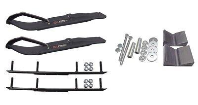 "C&A Pro Black XT Snowmobile Skis w/ 6"" Round Bars Complete Kit"