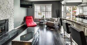 EQ3 modern grey leather rocker chair