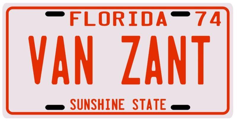 Lynyrd Skynyrd Ronnie Van Zant Florida License Plate