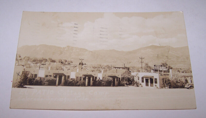 1939 RPPC EL PATIO COTTAGE CAMP Real Photo Postcard COLORADO SPRINGS CO