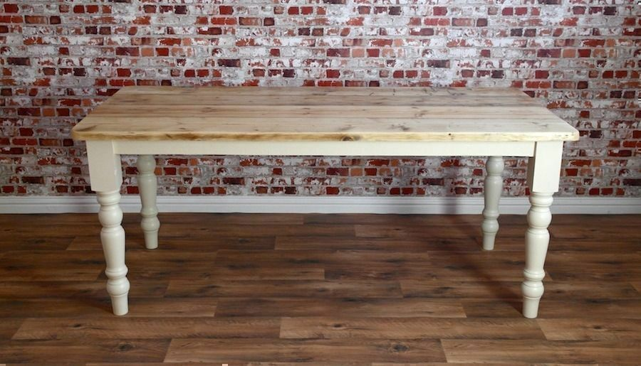 Rustic 8ft Scrub-Top Stripped Pine Reclaimed Wood Kitchen Dining Table Rustic Farmhouse Style
