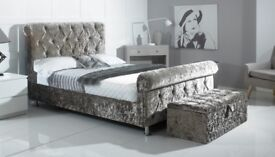 IN VARIOUS COLOURS CRUSHED VELVET SLEIGH BED BRAND NEW + DELIVERY