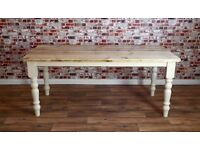 Pine Reclaimed Rustic 8ft Scrub-Top Stripped Wood Kitchen Dining Table Rustic Farmhouse Style