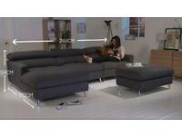 Hygena Azores Fabric Left Hand Corner Sofa - Grey