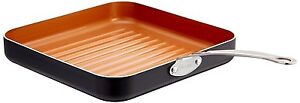GOTHAM STEEL 10.5-Inch Non-Stick Grill Pan With Ti-Cerama Surface, Copper - New