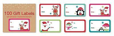 100 Cute Christmas Self Adhesive Gift Tags Labels Sticker Santa Snowman Present