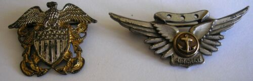 US NAVY CAP BADGE - HJ STERLING  - US NAVY AIRCREW WINGS - AMICO STERLING - RARE