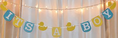 Its a boy baby shower yellow/aqua rubber duck theme hanging banner - Yellow Ducks Baby Shower Theme