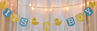 Its a boy baby shower yellow/aqua rubber duck theme hanging banner - Yellow Ducks Baby Shower Theme