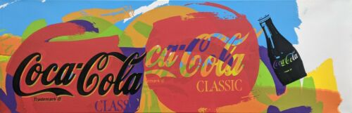 "Steve Kaufman ""coca Cola""   Hand Embellished Canvas   10x31"" Stretched   Gallart"