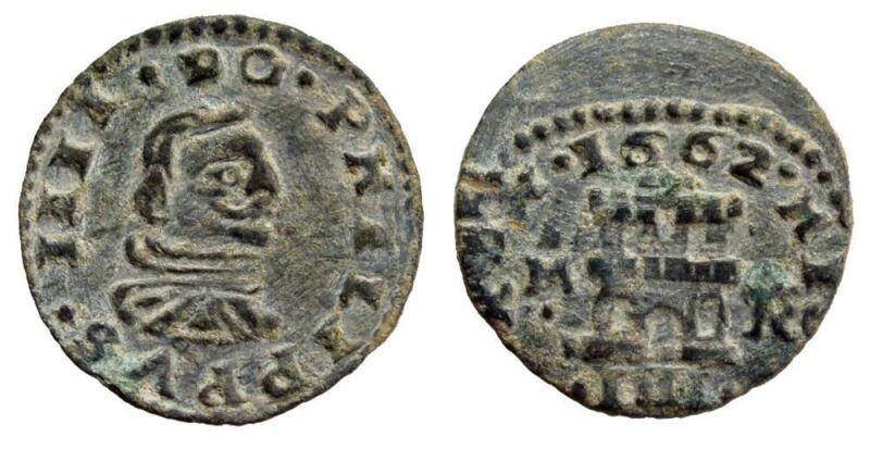 AC#BY Ancient Spain Philip IV 4 Maravedis Madrid 1662 Spain Coin with Wave