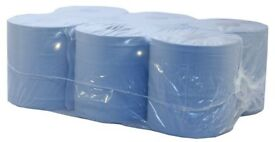 Blue 2 Ply Centrefeed Roll 17.5cm x 120m, 6 Embossed rolls, great for general purpose cleaning