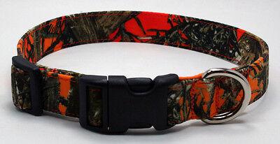 Blaze Orange Camouflage Camo True Timber Fabric Dog Collar Adjustable -