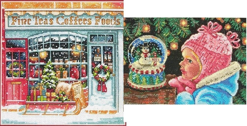 Lot of 2 Counted Cross Stitch Kits COFFEE SHOPPE Shop ~CHRIS