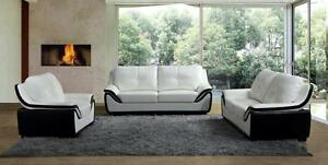 LORD SELKIRK FURNITURE - Pearl - 3Pc Sofa, Loveseat & Chair in Leather Gel Black & White - $1599.00