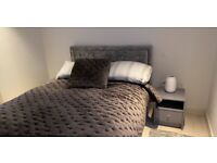 GFW Hollywood Crushes Velvet Ottoman Double Frame Bed (only used for 1 year)