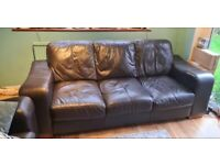 FREE! Brown leather 3 seater couch - Good condition