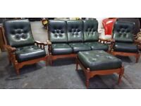 Vintage Green leather chesterfield 4pc sofa set Can deliver