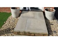 18 big 60x60 inch concrete paving slabs, grey