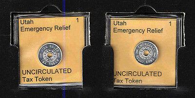UTAH 1 Aluminum EMERGENCY RELIEF TAX TOKEN RECEIPT    BRILLIANT UNCIRCULATED