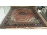 Beautiful Traditional Persian Wool & Silk Rug Large Vintage Pink Cream Blue 9ft