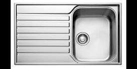 FRANKE ASCONA 1 BOWL POLISHED STAINLESS STEEL SINK & DRAINER RRP £120B&Q