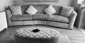 Large Curved Sofa + 2 Seater Sofa + Oval Pouffe