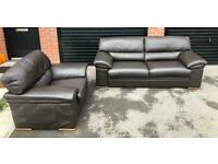 CAN DELIVER- REAL LEATHER BROWN SOFA & ARMCHAIR SUITE IN GOOD CONDITION