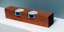 Hand-Made Open Sided Cedar Wood TEA LIGHT HOLDER